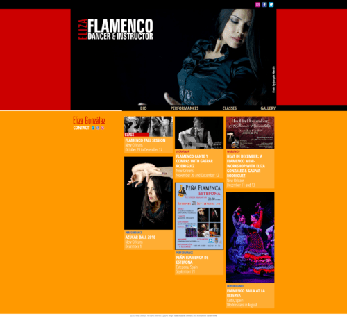 Eliza Flamenkita | Web of flamenco dancer and instructor Eliza Llewellyn González, where she promotes classes, workshops and tours. Designed by Comunicación Central. Update in 2018 developed for WordPress to add responsive and expand the class section, with mansory and bootstrap