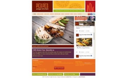 Picapica Arepa Kitchen | Picapica es un restaurante con cocina a base de maiz ubicado en San Francisco. Esta es la versión 2 elaborada en HTML con Wordpress, luego de un site elaborado en flash, donde no sólo dan información del menú y del restaurant sino información actualizada sobre la cocina y la alientación gluten free