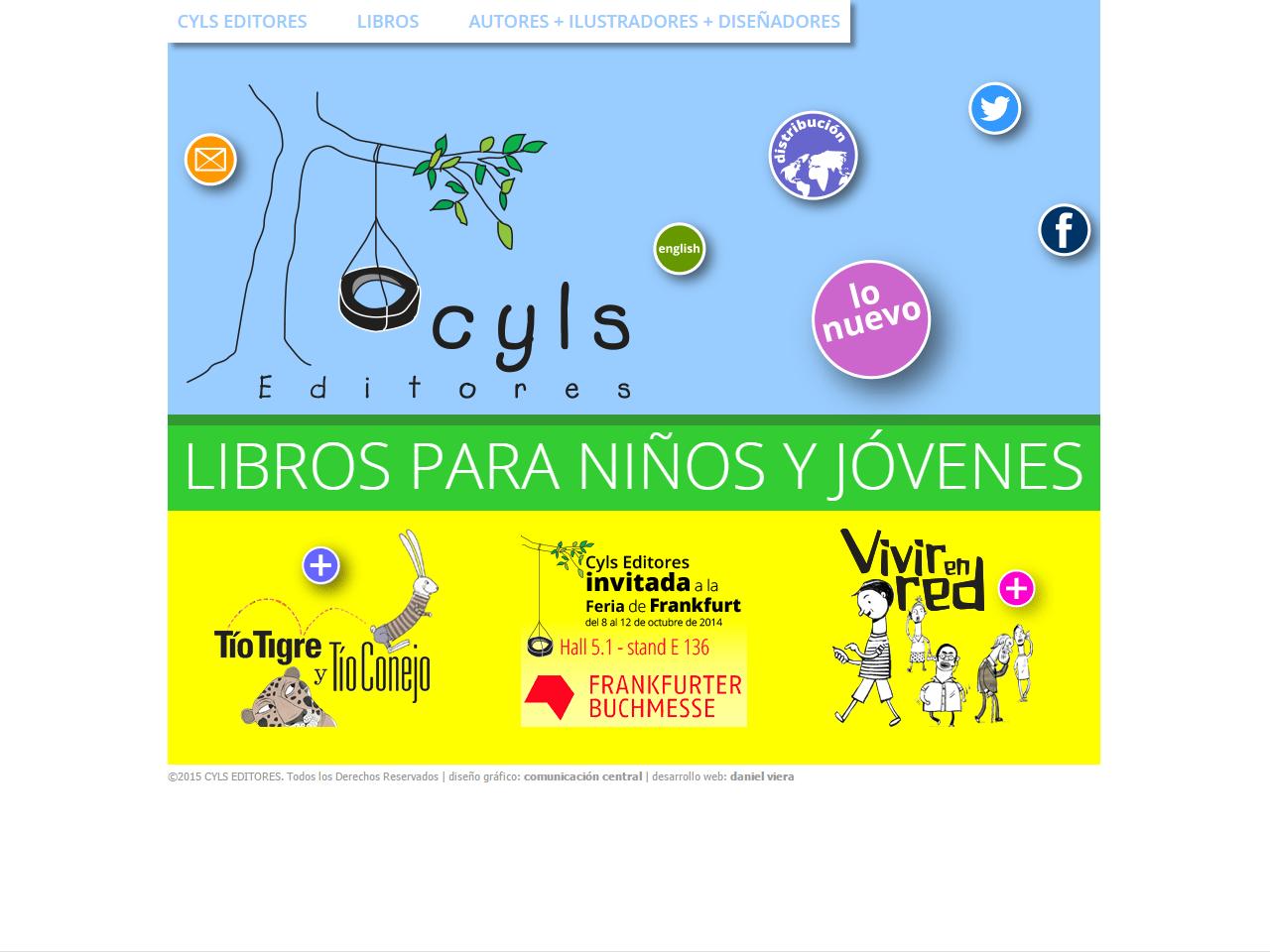 CYLS Editores | Editorial independiente, dedicada a libros para niños.web HTML con Wordpress, en inglés y español, sobre un diseño de Comunicación Central