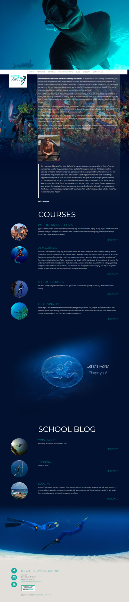Bonaire Freediving School | Freediving school, originally located in Saba, and after the hurricane with new headquarters in Bonaire. Responsive website developed for WordPress with bootstrap and infinite scroll.