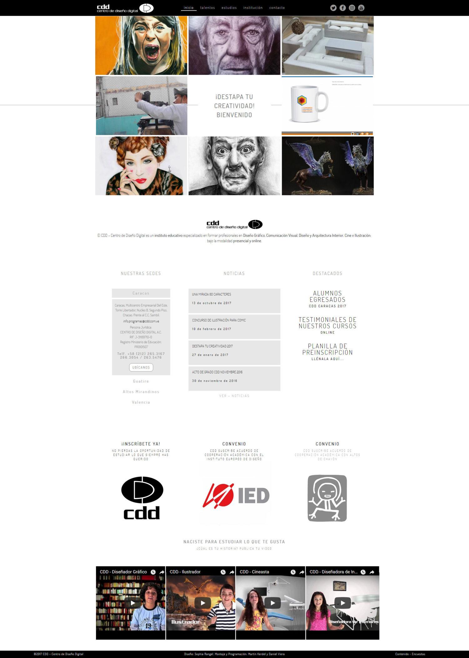 CDD Centro de Diseño Digital | Antes CDD y ahora Instituto Creativo Digital. Sitio web responsive con Wordpress y bootstrap, con filtros, bajo un diseño por concurso de Sophia Rangel, Montaje y Programación: Martin Kerdel y Daniel Viera