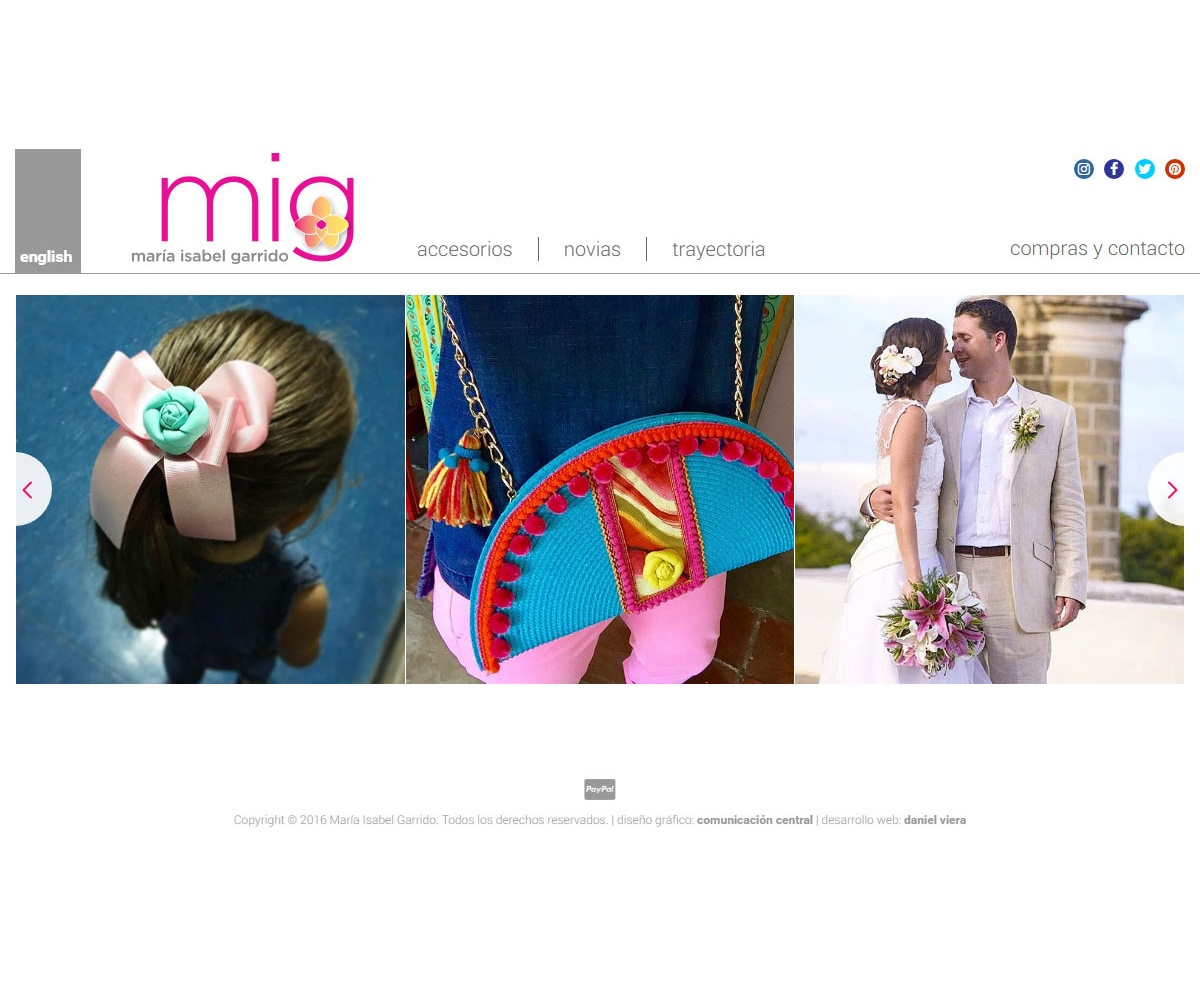 MIG Flores | Diseñadora de bisuteria especializada en novias María Isabel Garrido. Sitio web responsive desarrollado para WordPress con bootstrap alimentado desde instagram con dos idiomas, diseño de Comunicación Central.