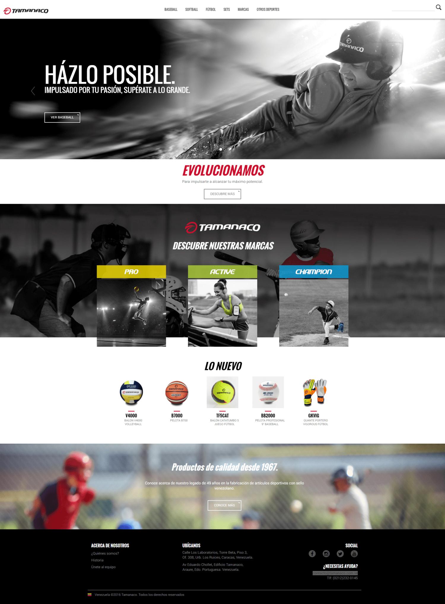 Tamanaco | Portafolio de productos de Tamanaco, empresa dedicada, por mas de 49 años a la fabricación y comercialización de artículos deportivos producidos con orgullo en Venezuela. Sitio web responsive desarrollado para WordPress con bootstrap en dos idiomas sobre un diseño de MBLM