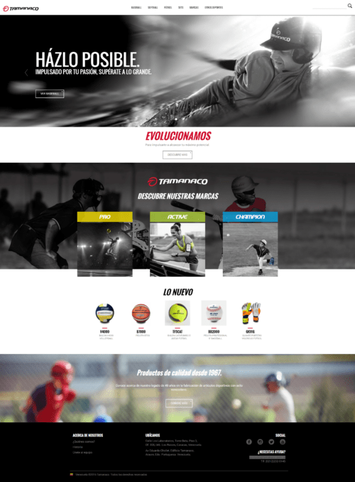 Tamanaco | Tamanaco, a company dedicated for more than 49 years to the manufacture and marketing of sports articles produced proudly produced in Venezuela. Responsive website for products display,  developed for WordPress with bootstrap with two languages designed by MBLM