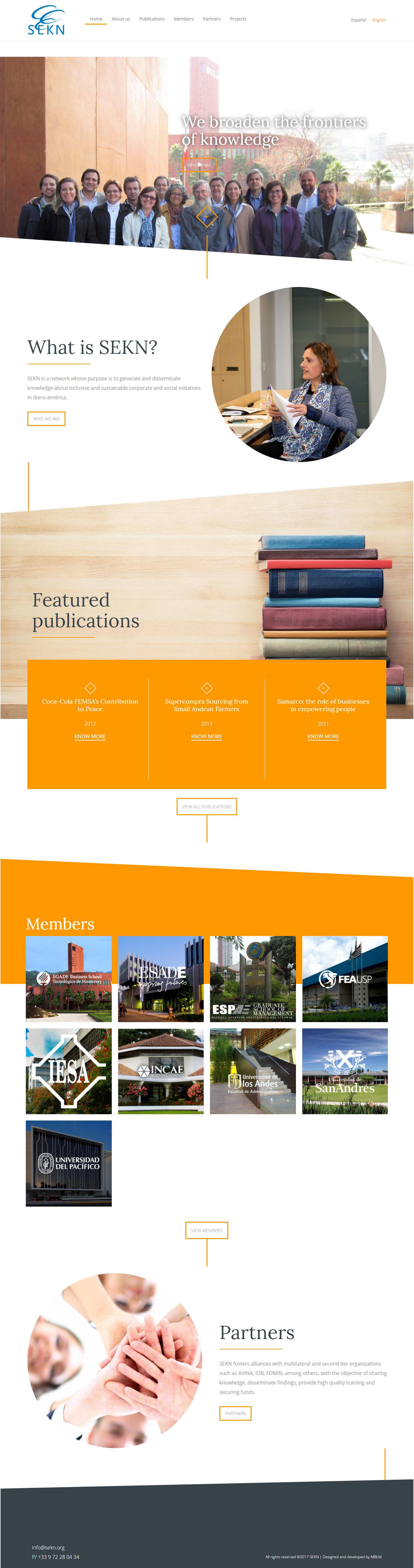 SEKN | Red que tiene como propósito generar y difundir conocimiento sobre iniciativas empresariales y sociales, inclusivas y sostenibles en Iberoamérica. Sitio web responsive desarrollado para WordPress con bootstrap en tres idiomas y flitros sobre un diseño de MBLM