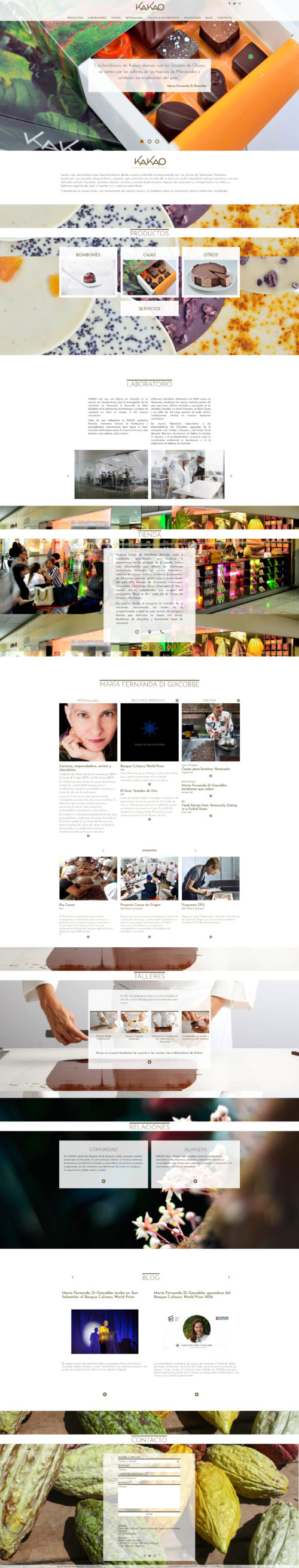 Kakao | Chocolate factory with a deep infatuation for Venezuelan' cocoa. Responsive infinite scroll website developed for WordPress with bootstrap