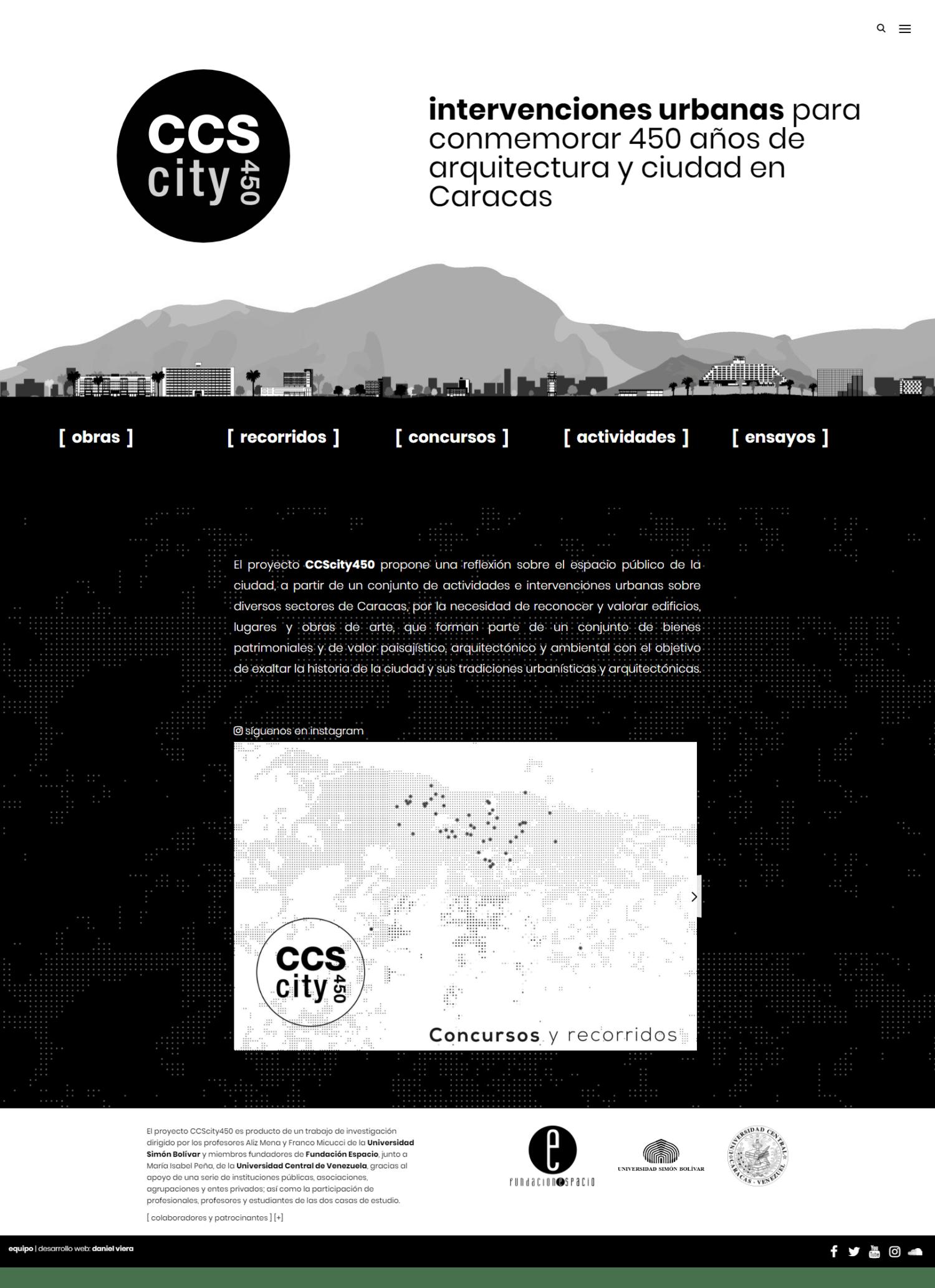 CCScity450 | Web con el propósito de conmemorar los 450 años de la ciudad de Caracas. Sitio web responsive desarrollado para WordPress, con bootstrap y sass, filtros, mapas interactivos.