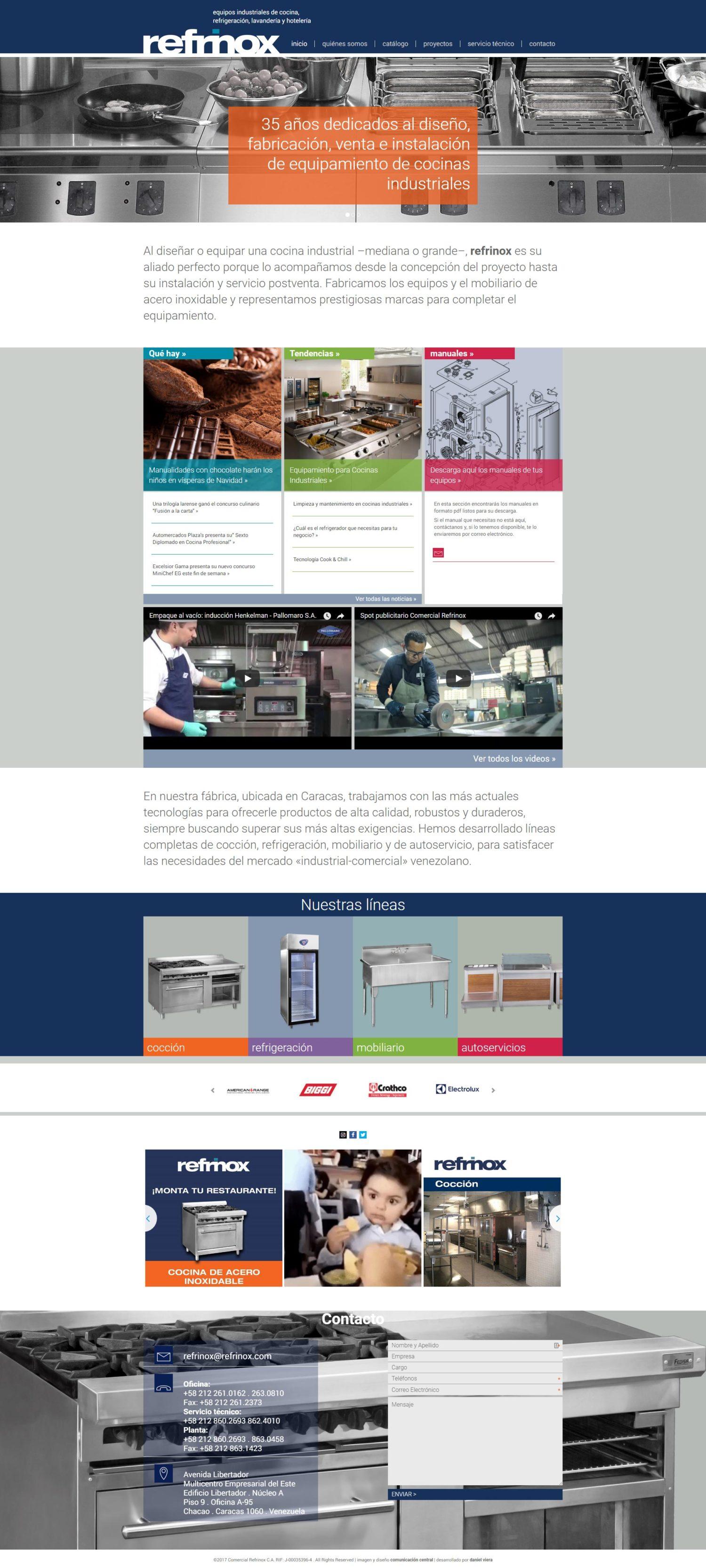 Refrinox | Empresa dedicada a proyectos y fabricación de mobiliario de cocinas industriales. Sitio web responsive desarrollado para WordPress con bootstrapsobre un diseño de Comunicación Central
