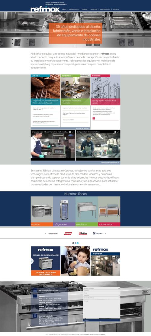 Refrinox | Company dedicated to projects and manufacturing of industrial kitchen furniture. Responsive website developed for WordPress with bootstrap designed by Comunicación Central
