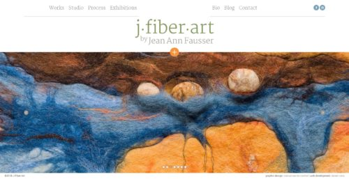 J Fiber Art | Portfolio of Jean Ann Fausser, a plastic artist who lives in Tulsa, Oklahoma and works with felt, knotting and coiling. Site developed for WordPress with Bootstrap in English, with Mansory and MagicZoom.