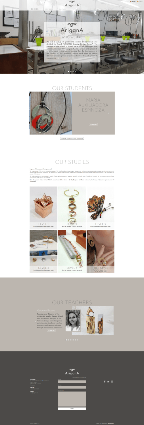 Arigana | ARIGANA is jewelry design school. Site with infinite scroll developed for WordPress, in two languages, bootstrap and sass.