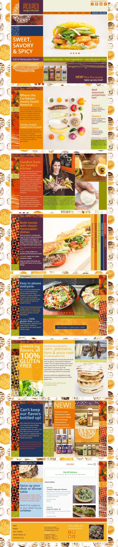 Pica Pica | Venezuelan food's website developed for Wordpress. 2019 update to a single infinite scroll page, responsive with bootstrap and sass