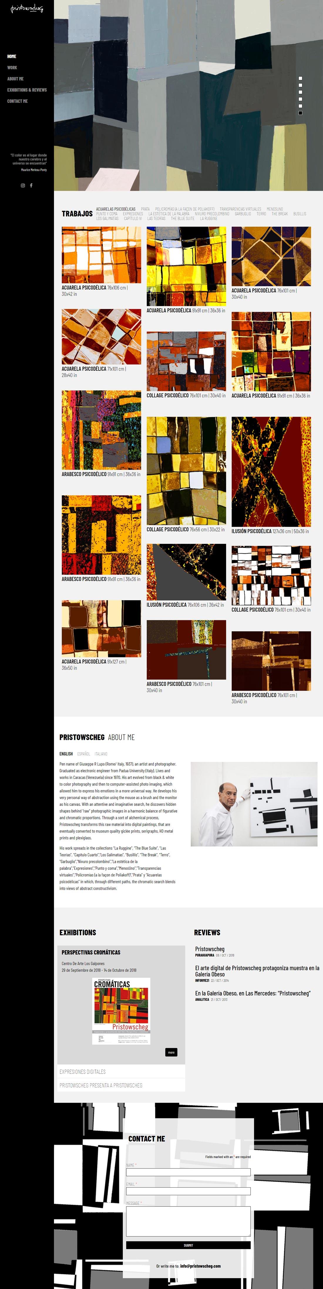 Pristowscheg | Portafolio de Pristowscheg, artista plástico digital. Sitio con scroll infinito desarrollado para WordPress, en ingles con mansory, bootstrap y sass.