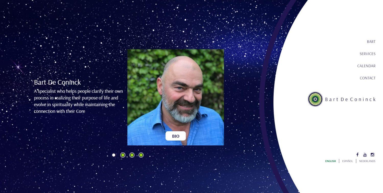 Bart De Coninck | Psicoterapeuta, facilitador sistémico y maestro de Reconstructivas. Sitio con scroll infinito desarrollado para Wordpress, en Inglés, Holandes y Castellano, con bootstrap 4 y sass