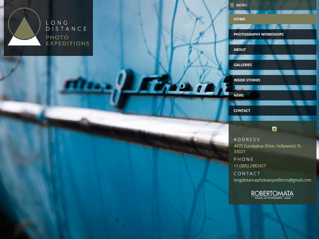 Long Distance Photo Expeditions | Sitio web para escuela de fotografía especializada en viajes fotográficos. Desarrollado en WordPress, con bootstrap y sass