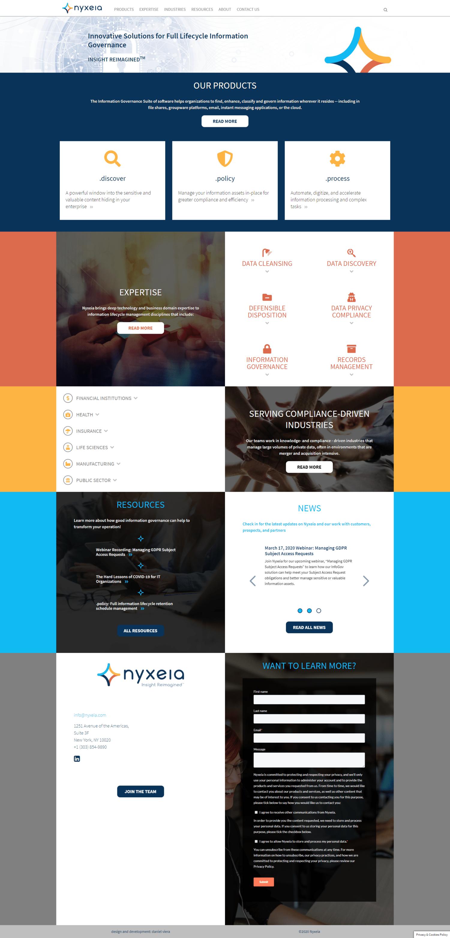 Nyxeia | Nuevo sitio web de una compañia que desarrolla software de manejo de información. Realizado en WordPress con bootstrap 4. Responsive