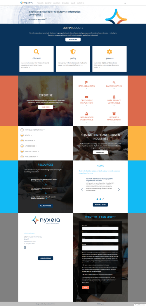 Nyxeia | New website of a company that develops information management software. Made with WordPress with bootstrap 4. Responsive