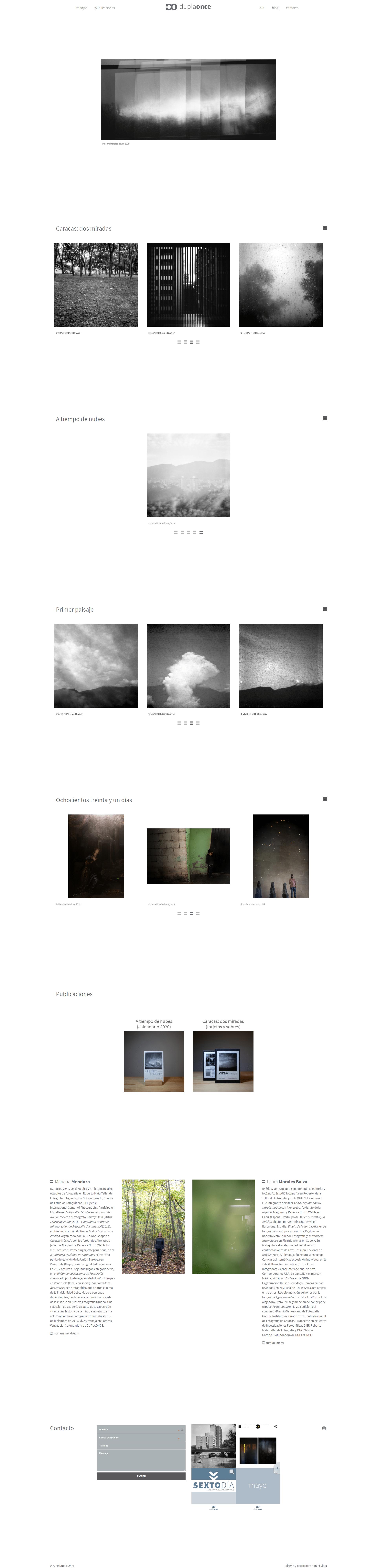 Dupla once | Nuevo sitio web para una dupla de artistas que hacen fotografía estenopéica. Realizado en WordPress con bootstrap 4 y sass. Responsive, con scroll infinito y mansory.
