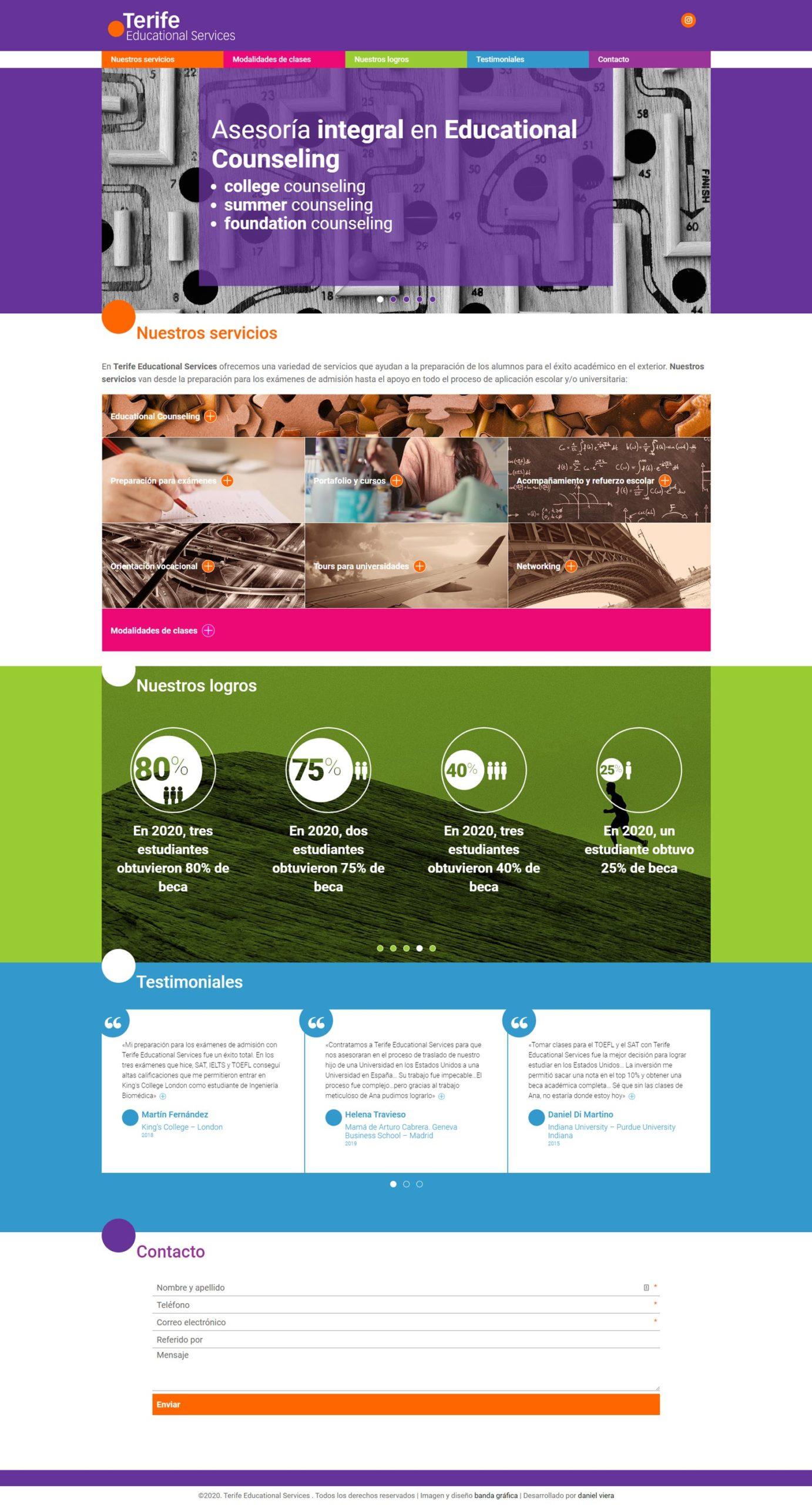 Terife Educational Services | Nuevo sitio web de empresa que ofrece servicios para ayudar a la preparación de los alumnos para el éxito académico en el exterior. Diseñado por Bandagráfica. Realizado en WordPress con bootstrap 4 y sass. Responsive, con scroll infinito y multilenguaje.