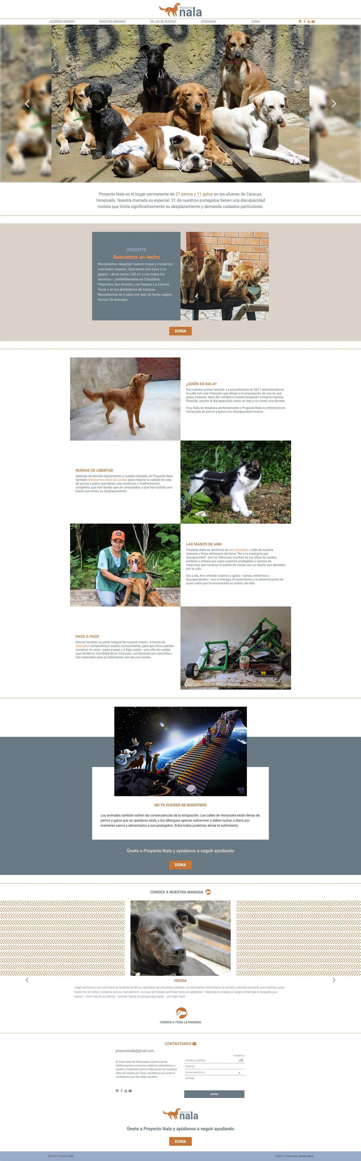 Proyecto Nala | New website for the permanent home of 27 dogs and 11 cats with disabilities. Developed with WordPress with bootstrap 4 and sass. Responsive, with infinite scrolling and mansory.