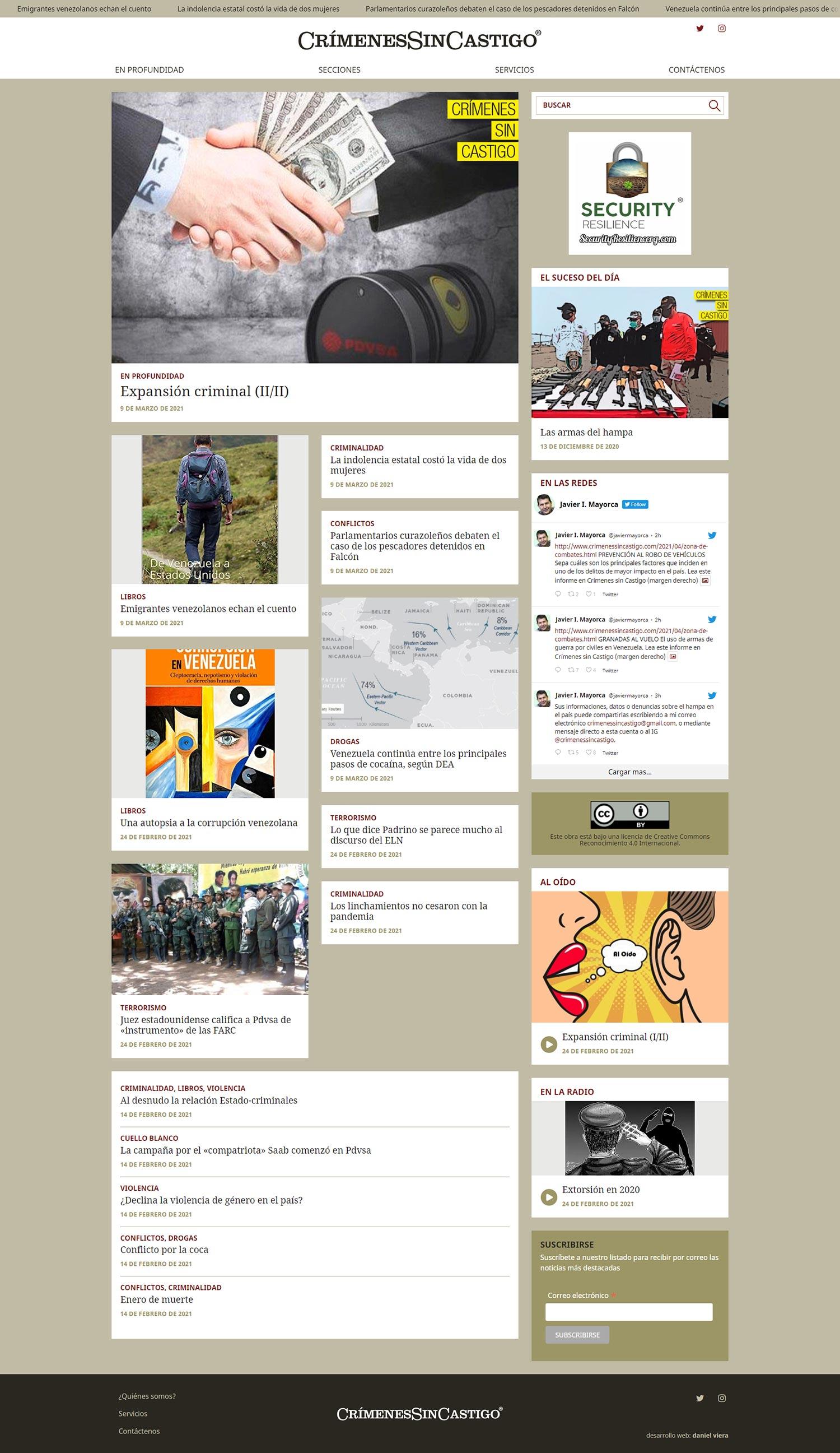 Crímenes sin castigo | Sitio de noticias especializadas en sucesos del periodista Javier Mayorca. Desarrollada para WordPress, con paginación y publicidad, bootstrap y sass