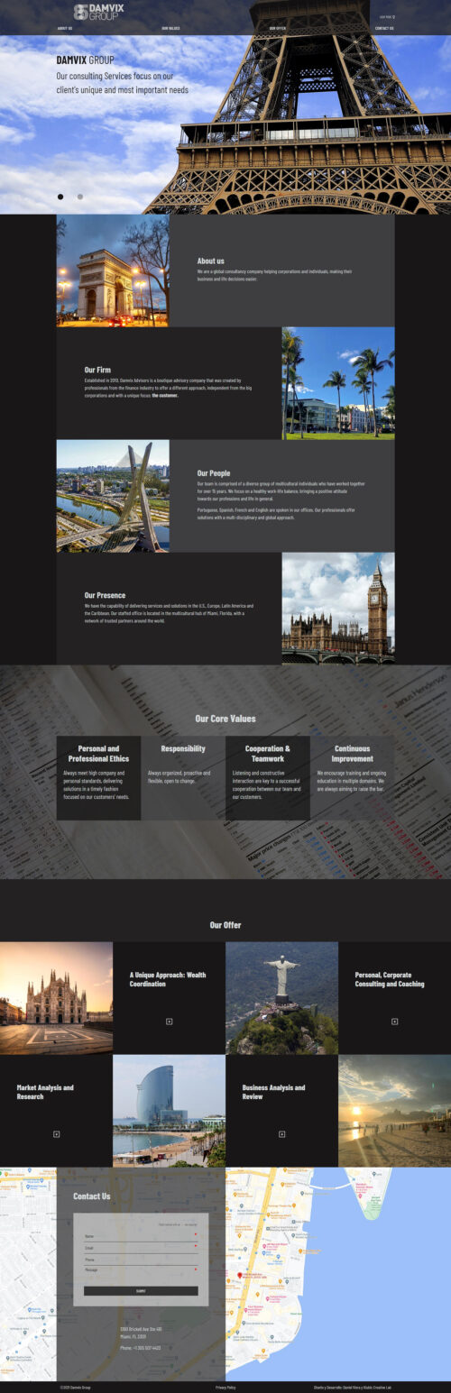 Damvix Group | Consulting Finantial Services firm web page. One infinite scroll page. Site developed with WordPress, bootstrap 4 and sass.